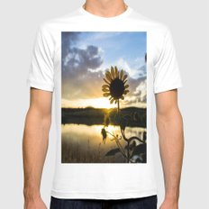 Sunflower Sunset White Mens Fitted Tee MEDIUM