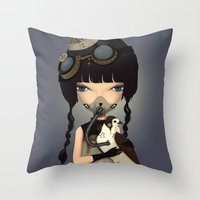 pilot Throw Pillows featuring pilot by Anne  Martwijit