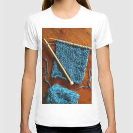 knitting photo, denim, denim photo, blue, wood, knitting, knit, brown, T-shirt