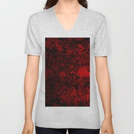 Red and black abstract decorative floral arabesque motif with metallic look Unisex V-Neck