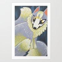Marble Fox Art Print