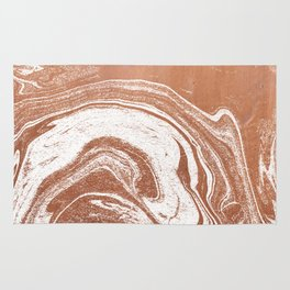 Marble suminagashi copper metallic japanese spilled ink watercolor ocean swirl marbling Rug