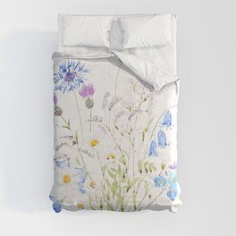 white purple and blue wildflowers  Comforters