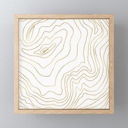 Modern Gold lines Minimalist Hand Drawn Design Framed Mini Art Print