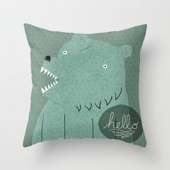 Friendly Bear Throw Pillow