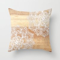 brown Throw Pillows featuring White doodles on blonde wood - neutral / nude colors by micklyn