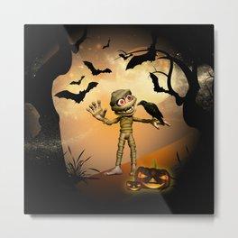 Halloween, Funny mummy Metal Print