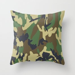 Brown and Green Camo Pattern Throw Pillow