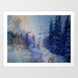 Chairlift into the Universe // Milky Way Galaxy Snowboarding Snow Nebula Stars Mixed Media Popart Art Print