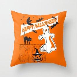 Rustic Vintage Spooky Happy Halloween Throw Pillow