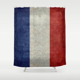 French Flag with vintage textures Shower Curtain