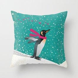Joy Penguin Throw Pillow