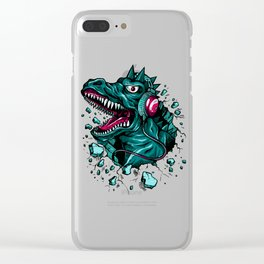 Dino with Headphones Green Cyprus Clear iPhone Case
