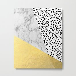 Marble Gold Dots - modern hipster trendy shiny gold foil cell phone case iphone dorm college Metal Print