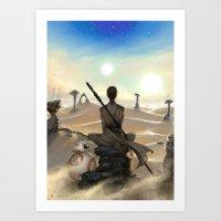 starwars Art Prints featuring StarWars - Rey by Sonia MS