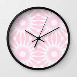 Rose Quartz Pink Pinwheel Flowers Wall Clock