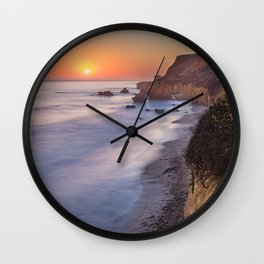 Sun Setting on the Pacific California Coast Wall Clock