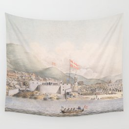 Vintage Pictorial View of Christiansted St Croix (1839) Wall Tapestry