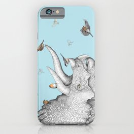 Triceratops and Birdies iPhone Case
