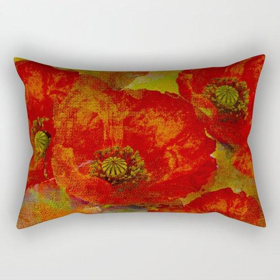 Poppies(red&orange). Rectangular Pillow