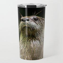 Otter Paws, Otter Prints, Cute Otter Art, Otter Pillow, Otter Gifts,Animal Art, Large animal Canvas Travel Mug