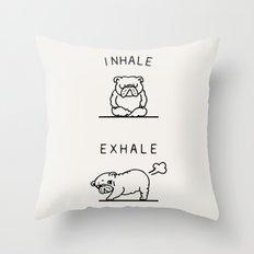 Inhale Exhale English Bulldog Throw Pillow