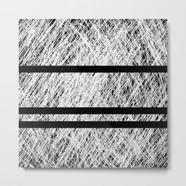 Interrupted Thoughts - Abstract Black And White Metal Print