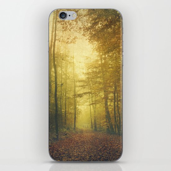fall morning forest iPhone Skin