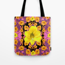TROPICAL YELLOW & GOLD AMARYLLIS FLOWERS PATTERN ON Tote Bag