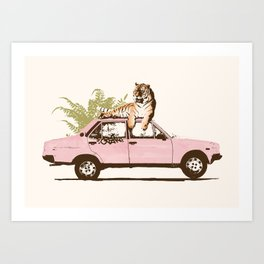 Tiger on Car Art Print