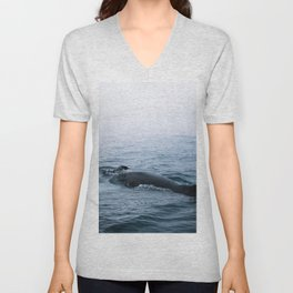 Humpback whale in the minimalist fog - photographing animals Unisex V-Neck