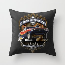 Plymouth Barracuda Road Burn - Muscle Car Throw Pillow