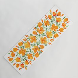 Watercolor California poppies Yoga Mat