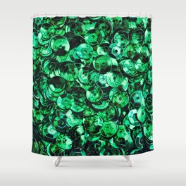 Green Scattered Sequins Shower Curtain