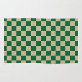 Tan Brown and Cadmium Green Checkerboard Rug