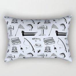 Gone Fishing // Light Blue Rectangular Pillow