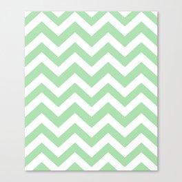 Celadon - green color - Zigzag Chevron Pattern Canvas Print