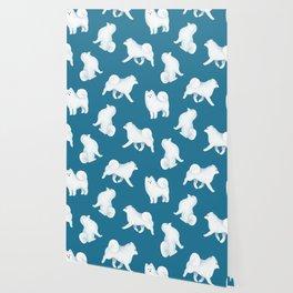 Samoyed Pattern (Blue Background) Wallpaper