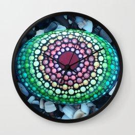 Radical Rainbow Mandala Stone Wall Clock