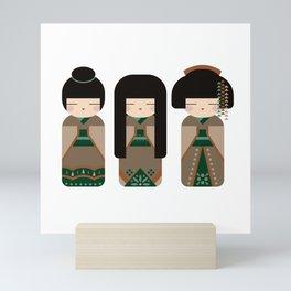 Country Kokeshi Trio - Folk Art Style Japanese Doll Mini Art Print