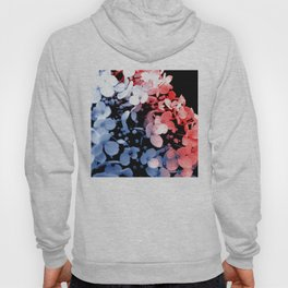 Red and blue effects on hydrangea Hoody