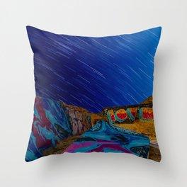 Cosmic Street Art- Star Trails Throw Pillow
