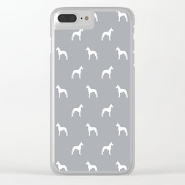 Great Dane dog breed pattern minimal simple grey and white great danes silhouette Clear iPhone Case