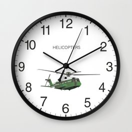 Green American Helicopter Wall Clock
