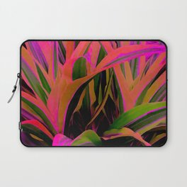 Exotic, Lush Passionate Pink and Green Leaves Laptop Sleeve