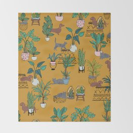 Houseplants dogs and cats quirky cute conversational Throw Blanket