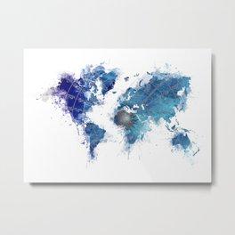 World Map Wind Rose splash Metal Print