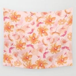 Pink Coral Floral Wall Tapestry