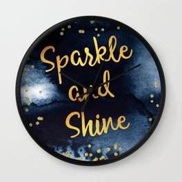 Sparkle And Shine Gold And Black Ink Typography Art Wall Clock