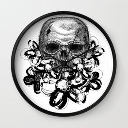 Skull with flowers   Black and white Wall Clock